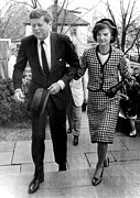 Pinstripe Suit Prints - John And Jacqueline Kennedy Arrive Print by Everett