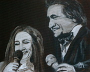 Country Music Painting Originals - John and June by Pete Maier