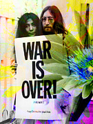 John Lennon  Drawings Posters - John and Yoko - War Is Over Poster by Andrew Osta