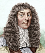 Aubrey Framed Prints - John Aubrey, English Archaeologist Framed Print by Sheila Terry