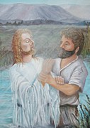 Sun Rays Paintings - John Baptizing Jesus by Janna Columbus