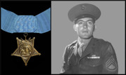 Warishellstore Digital Art Metal Prints - John Basilone and The Medal of Honor Metal Print by War Is Hell Store