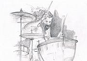 Led Zeppelin Drawings - John Bonham by Matthew LeClair