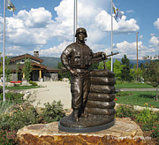 Soldier Sculptures - John Borbonus Bronze Memorial Statue by Lena Toritch