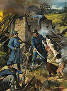 Soldier Paintings - John Brown on 30 August 1856 Intercepting a Body of Pro-Slavery Men by Andrew Howart