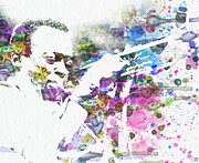 Watercolor Metal Prints - John Coltrane Metal Print by Irina  March