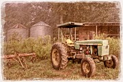 Sunset Greeting Cards Framed Prints - John Deere Antique Framed Print by Debra and Dave Vanderlaan