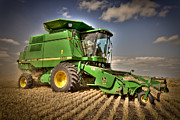 Combine Posters - John Deere Combine Poster by Matt Dobson