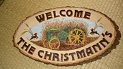 Welcome Plaque Pyrography Prints - John Deere Print by Dakota Sage