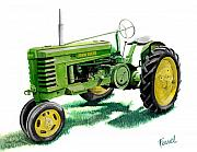 John Deere Framed Prints - John Deere Tractor Framed Print by Ferrel Cordle