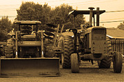 Old Country Roads Photos - John Deere Tractors by Wingsdomain Art and Photography