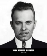 Fbi Framed Prints - JOHN DILLINGER - BANK ROBBER and GANG LEADER Framed Print by Daniel Hagerman