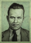 Gangster Drawings - John Dillinger by James W Johnson