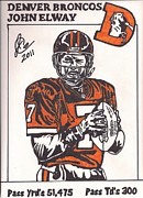 Player Drawings Posters - John Elway Poster by Jeremiah Colley
