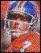 Nfl Mixed Media Acrylic Prints - John Elway Mosaic Acrylic Print by Paul Van Scott