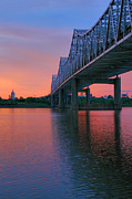 Indiana Photography Posters - John F. Kennedy Bridge At Sunrise Poster by Steven Ainsworth