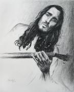 Musicians Drawings - John Frusciante 1 by Michael Morgan
