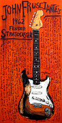 Guitars Paintings - John Frusciante 1962 Stratocaster by Karl Haglund