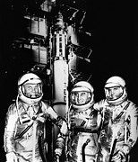 Virgil Framed Prints - John Glenn, Virgil Grissom, And Alan Framed Print by Everett