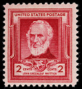 Quaker Prints - John Greenleaf Whittier postage stamp Print by James Hill