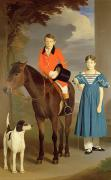 Horse And Riders Posters - John Gubbins Newton and his Sister Mary Poster by Robert Burnard