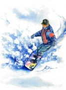 John Benson Paintings - John-John on Snowboard by John D Benson