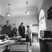 West Wing Prints - John Kennedy And Others Watching Print by Everett