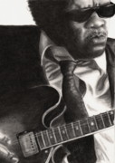 Guitar Drawings Posters - John Lee Hooker Poster by Kathleen Kelly Thompson