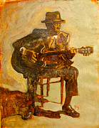 African American Art Posters - John Lee Hooker Poster by Michael Facey