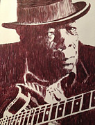 Robbi Musser Drawings - John Lee Hooker by Robbi  Musser