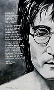 Figurative Framed Prints - John Lennon - Imagine Framed Print by Eddie Lim