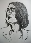 Music Drawings Framed Prints - John Lennon 2. Framed Print by Richard Brooks