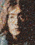 The Beatles  Photos - John Lennon Beatles Albums Mosaic by Paul Van Scott