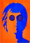 John Lennon Mixed Media Originals - John Lennon blue by Mark Cawood