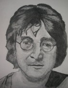 Ringo Drawings - John Lennon by Christian Fralick
