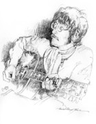 Beatles Drawings Prints - John Lennon Print by David Lloyd Glover