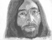 John Lennon Drawings - John Lennon by Jeff Ridlen