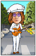 British Invasion Framed Prints - John Lennon Framed Print by John Goldacker