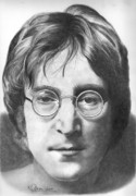 Beatles Drawings - John Lennon by Karen  Townsend