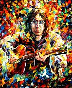 Beatles Painting Framed Prints - John Lennon Framed Print by Leonid Afremov