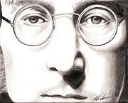 John Lennon Mixed Media Originals - John Lennon by Michael Mestas