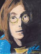 Leaping Through Time Drawings Posters - John Lennon Pastel Poster by Jimi Bush