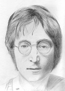 Beatles Drawings - John Lennon by Pat Moore