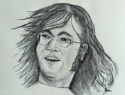 Music Drawings Framed Prints - John Lennon Framed Print by Pete Maier
