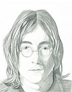 The Beatles John Lennon Drawings - John Lennon Portrait by Seventh Son