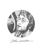 John Lennon Drawings Framed Prints - John Lennon Framed Print by Six Artist