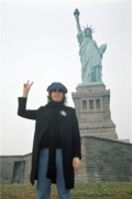 John Lennon Photo Originals - John Lennon Statue of Liberty by Bob Gruen
