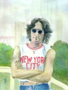 New York City. John Lennon Portrait Framed Prints - John Lennon Framed Print by Yoshiko Mishina