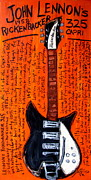 Guitar Painting Framed Prints - John Lennons Rickenbacker Framed Print by Karl Haglund