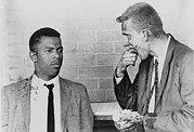 Racism Framed Prints - John Lewis Talks With Fellow Freedom Framed Print by Everett